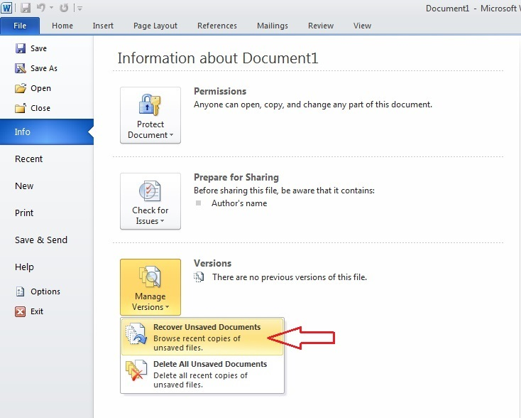 How to Recover an Unsaved Word Document 2